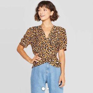 Deep V-Neck Leopard Print Blouse